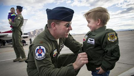 USAF Thunderbird Joshua 'Tater' Boudeaux engages the crowd between flights.